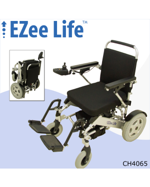 "1G Folding Electric Wheelchair w/ Tall Seat Height & 12"" Wheels - CH4065"